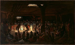 A Pomo religious dance near Clear Lake painted by Jules Tavernier in 1878