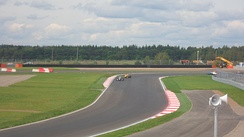Daniil Kvyat leads Stoffel Vandoorne in the first race at Moscow Raceway, the track's first major event. Kvyat won both races in Moscow to take the championship lead by one point from Vandoorne.