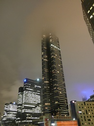 Eureka Tower, Melbourne's tallest building, reaching the clouds at night