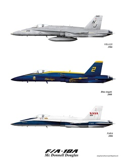F/A-18A Hornets in various color schemes