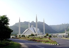Faisal Mosque at Islamabad, Pakistan designed by Vedat Dalokay.