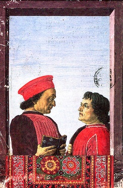 Federico Montefeltro with humanist writer Cristoforo Landino, in an example of Oriental carpets in Renaissance painting, 15th century
