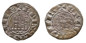 "Castilian pepión, billon coin from the reign of Ferdinand IV. Minted in Toledo. Legends: obverse ""FREXCASTELLE"", reverse ""ET LEGIONIS"", which in Latin means ""F[erdinand] king of Castile and Leon""."