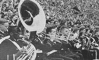 "The brass section of the Pitt Band blares out ""Hail to Pitt"" during a 14-7  Pitt football win over Syracuse University at Pitt Stadium in 1956."