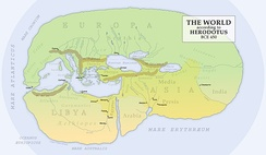 Reconstruction of Herodotus' world map (450 BC)