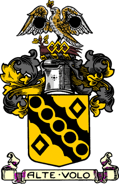 The coat of arms of the former Heywood Municipal Borough Council. This coat of arms was granted by the College of Arms on 14 May 1881.
