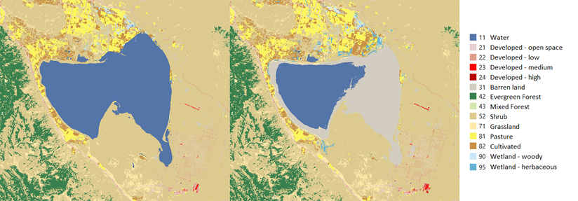 Honey Lake extent in 2001 and 2011. Data from USGS National Land Cover Dataset