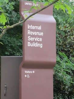 IRS location sign on Constitution Avenue, Washington, D.C.
