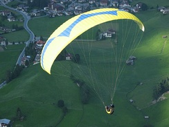 A paraglider at Neustift, Tirol, Austria