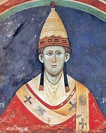 Roman Catholic Popes wear red as the symbol of the blood of Christ. This is Pope Innocent III, in about 1219.