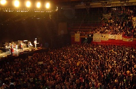 Inside view of Ruca Che arena in Neuquén, Argentina, during a rock concert.