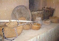 Palm baskets (front) and wicker baskets (back)