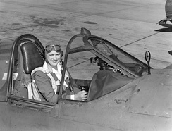 Jackie Cochran in the cockpit of a P-40 fighter aircraft. She was head of the Women Airforce Service Pilots (WASP).