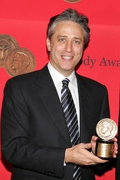 The show is a spin-off of The Daily Show, hosted by Jon Stewart, seen here in 2005.