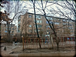 "Flats in ""Old Mikrorayon"", one of the city's Soviet-style microdistricts built between the 1960s and 1980s"