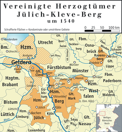 Map of the United Duchies of Jülich-Cleves-Berg around 1540