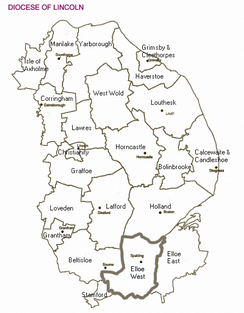 A map of the deaneries in the Diocese of Lincoln