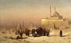 Louis Comfort Tiffany (1848–1933). On the Way between Old and New Cairo, Citadel Mosque of Mohammed Ali, and Tombs of the Mamelukes, 1872. Oil on canvas. Brooklyn Museum
