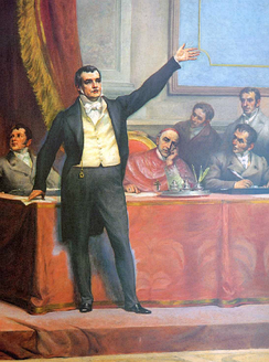 Manuel Fernandes Tomás gives a speech during the drafting of the first Portuguese Constitution.