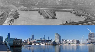 Melbourne Docklands urban renewal project, a transformation of a large disused docks area into a new residential and commercial precinct for 25,000 people