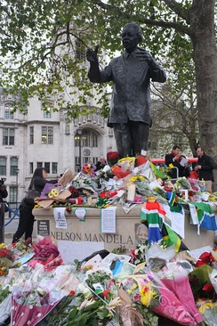 Flowers left at the Mandela statue in London's Parliament Square following his death