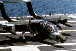 An OV-10D during trials aboard USS Saratoga in 1985