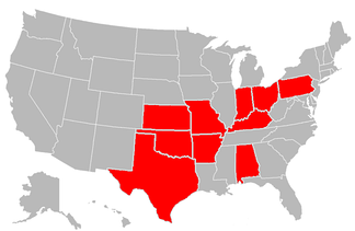 Red states indicate US states where Governors of Oklahoma were born.