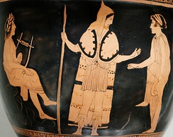 Orpheus (left, with lyre) among the Thracians, from an Attic red-figure bell-krater (c. 440 BC)[15]