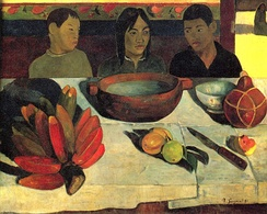 Paul Gauguin's Le Repas; Fe'i bananas bottom left