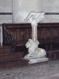 Marble lectern in the Pisa Baptistery, Italy