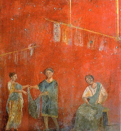 Workers hanging up clothing to dry, wall painting from a fuller's shop (fullonica) at Pompeii