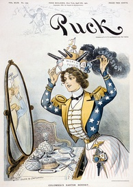 "Columbia, personification of the United States, wearing a warship bearing the words ""World Power"" as her ""Easter bonnet"" on the cover of Puck, 6 April 1901"