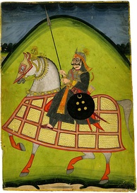 Rajput warrior on horseback.
