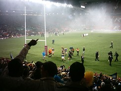 Leeds Rhinos celebrate their 2008 Super League Grand Final victory over St Helens.