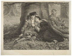 An 1870 print of Act II, Scene iv: Rosalind and Celia in the forest with Touchstone