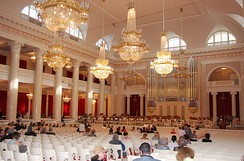 The Bolshoi Zal (Grand Hall) of Saint Petersburg Philharmonia.