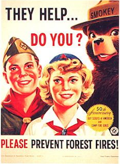 Smokey Bear with members of the Boy Scouts of America and the Camp Fire Girls celebrating the 50th anniversary of their founding in 1960
