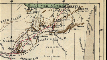 19th century map of central Somaliland showing the territory of Sultan Nur of the Habr Yunis