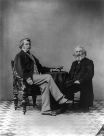 Senator Sumner and his friend Henry Wadsworth Longfellow, photograph by Gardner, 1863