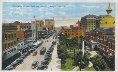 Franklin Street, looking north past the old Hillsborough County Courthouse, Tampa c. 1910s–1920s