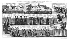 """The Solemn Mock Procession of the Pope, Cardinals, Jesuits, Friars, Etc. Through the City of London, 17 November 1679.""  Throughout the Exclusion Crisis, Shaftesbury's Whig allies in the Green Ribbon Club engaged in anti-Catholic propaganda, such as mock processions, the climax of which involved burning the pope in effigy."