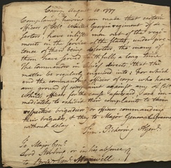 Letter from Timothy Pickering to Major General Lord Sterling, 1777
