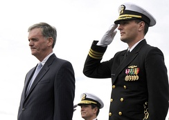 Gregg (left) at the commissioning ceremony for the USS New Hampshire (SSN-778).