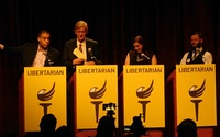 Images of the main vice presidential debate at the Libertarian National Convention on May 27