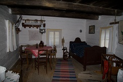 Typical interior of one of the houses in the Folk Architecture Reservation in Vlkolínec (Slovakia)