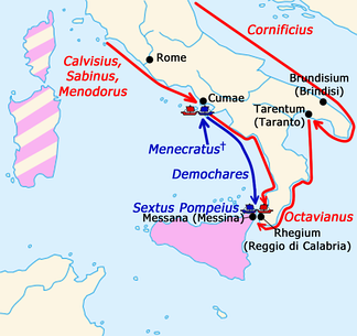 Sicilian revolt, campaign of 38/37 BC.  Sextus Pompeius' possessions (territories that went over to Octavianus before the war with Menodorus are painted in pink and beige)↗ — actions of Octavianus and his admirals;↗ — actions of Sextus' admirals.