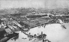 Aerial view of the exposition at Jackson Park in a print by F.A. Brockhaus