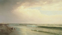Seascape with Distant Lighthouse, Atlantic City, New Jersey, 1873, William Trost Richards. Thyssen-Bornemisza Museum