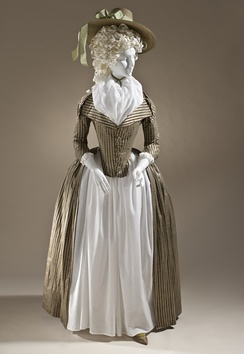 Woman's redingote, c. 1790. Silk and cotton satin and plain weave. Los Angeles County Museum of Art, M.2009.120.[7]