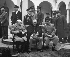 "The ""Big Three"" Allied leaders (left to right) at the Yalta Conference, February 1945: Winston Churchill, Franklin D. Roosevelt and Joseph Stalin."